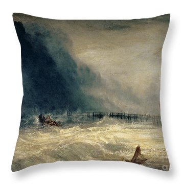 Lifeboat And Manby Apparatus Going Off To A Stranded Vessel Making Signal Of Distress Throw Pillow