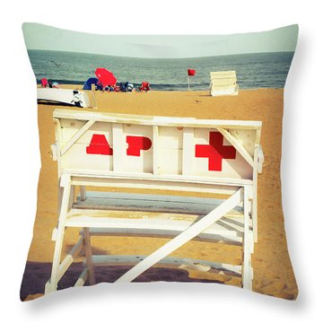 Throw Pillow featuring the photograph Lifeguard Chair - Asbury Park by Colleen Kammerer