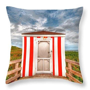 Lifeguard Hut Throw Pillow by Elisabeth Van Eyken