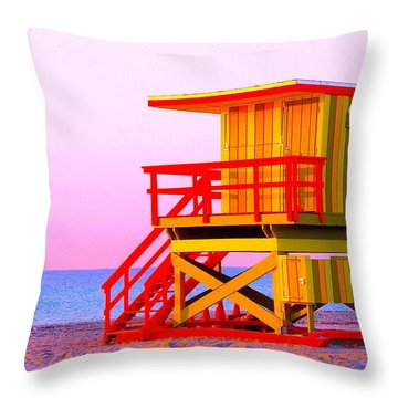 Lifeguard Stand Miami Beach Throw Pillow