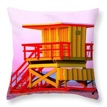 Lifeguard Stand Miami Beach Throw Pillow