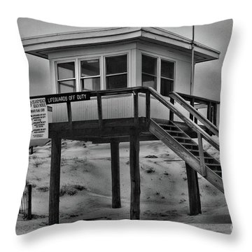 Lifeguard Station 2 In Black And White Throw Pillow by Paul Ward
