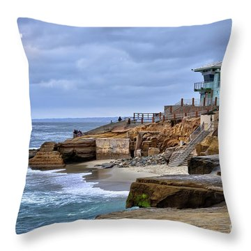 Lifeguard Station At Children's Pool Throw Pillow