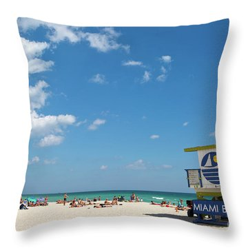 Lifeguard Station Miami Beach Florida Throw Pillow