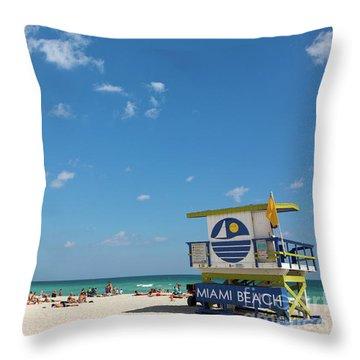 Lifeguard Station Miami Beach Florida Throw Pillow