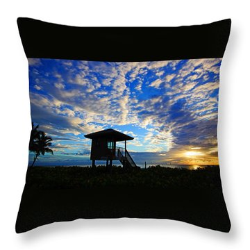 Lifeguard Station Sunrise Throw Pillow