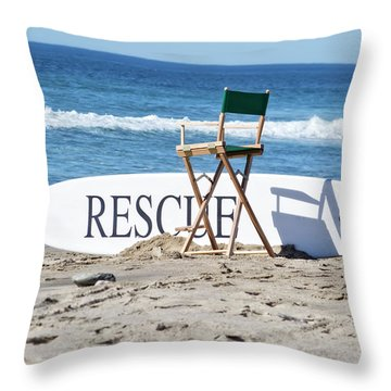 Lifeguard Surfboard Rescue Station  Throw Pillow