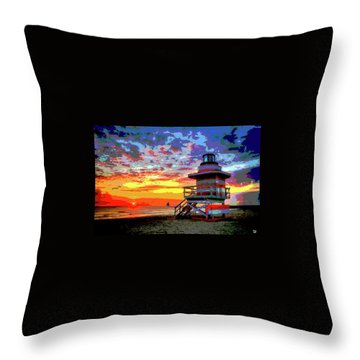 Lifeguard Tower At Miami South Beach, Florida Throw Pillow by Charles Shoup