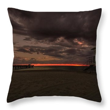 Lifeguard Tower At Sunrise Throw Pillow