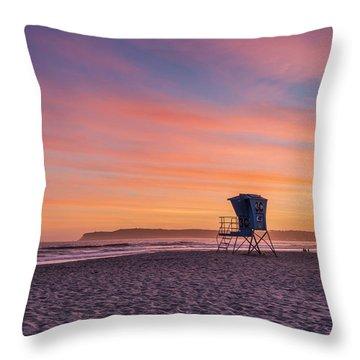 Lifeguard Tower Sunset Throw Pillow