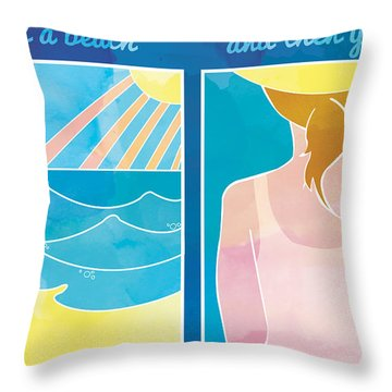 Lifes A Beach And Then You Fry Throw Pillow