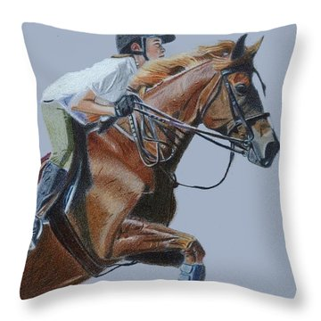 Horse Jumper Throw Pillow by Patricia Barmatz
