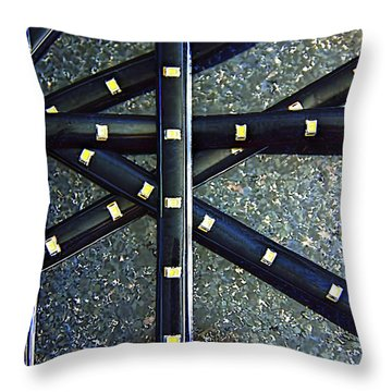 Throw Pillow featuring the photograph Metal And Stone  Metallic  Photograph by Renee Anderson
