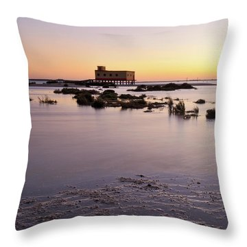 Lifesavers Building And Tides In Fuzeta Throw Pillow by Angelo DeVal