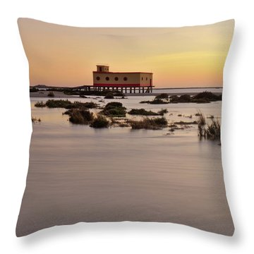 Lifesavers Building At Dusk In Fuzeta. Portugal Throw Pillow by Angelo DeVal
