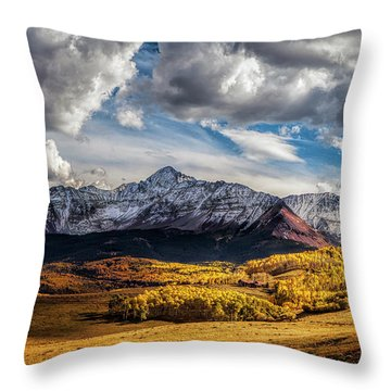 Light And Shadow At Wilson Mesa Throw Pillow