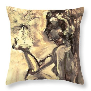 Throw Pillow featuring the painting Light And Shadow by Mary Schiros
