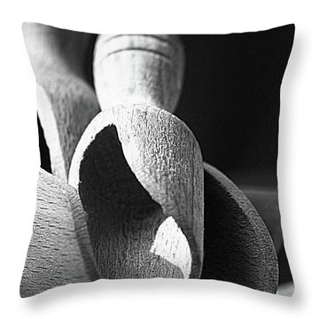 Light And Shadows On Wooden Spoons  Throw Pillow