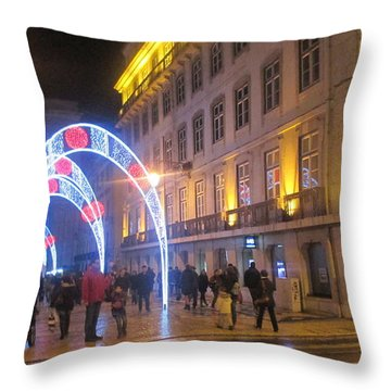 Light Arcs In Lisbon Throw Pillow