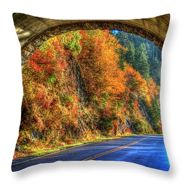 Throw Pillow featuring the photograph Light At The End Of The Tunnel Blue Ridge Parkway Art by Reid Callaway