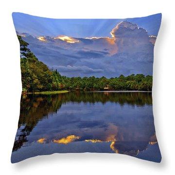 Light Beam Sunset Over Hidden Lake In Jupiter Florida Throw Pillow