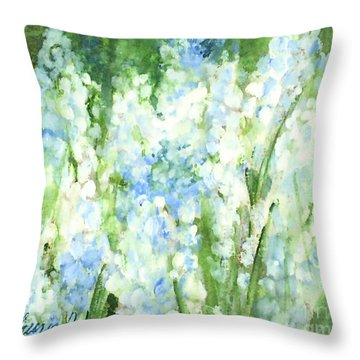 Throw Pillow featuring the painting Light Blue Grape Hyacinth. by Laurie Rohner