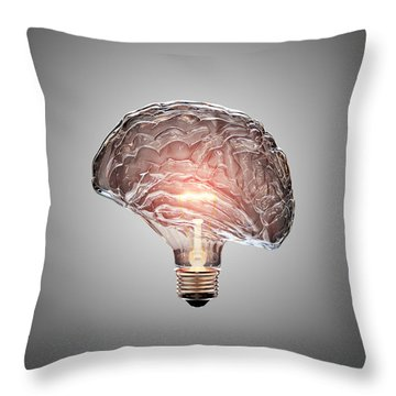 Light Bulb Brain Throw Pillow