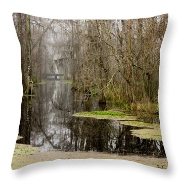 Light Fog On The Swamp Throw Pillow