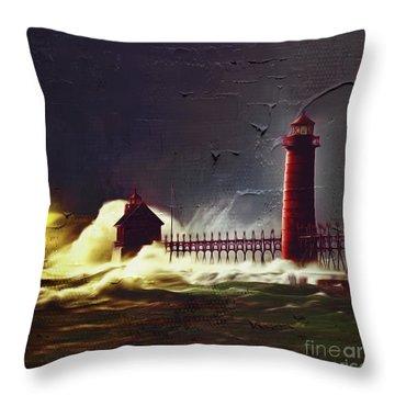 Light House 07 Throw Pillow by Gull G