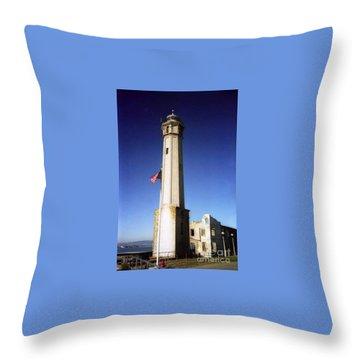 light house Alcatraz SF bay area Throw Pillow