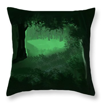 Light In The Forest Throw Pillow by Walter Chamberlain