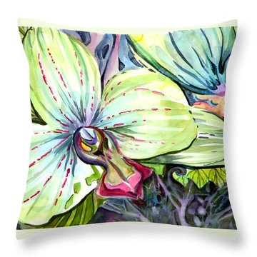 Light Of Orchids Throw Pillow by Mindy Newman