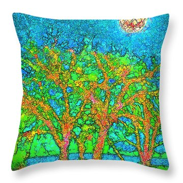 Throw Pillow featuring the digital art Light Of The Radiant Sun - Trees In Boulder County Colorado by Joel Bruce Wallach