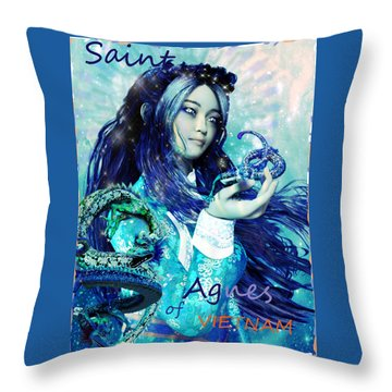 Throw Pillow featuring the painting Light Of Vietnam Saint Agnes by Suzanne Silvir