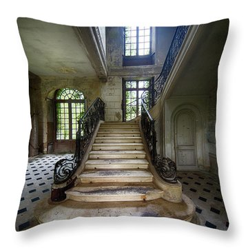 Throw Pillow featuring the photograph Light On The Stairs - Abandoned Castle by Dirk Ercken