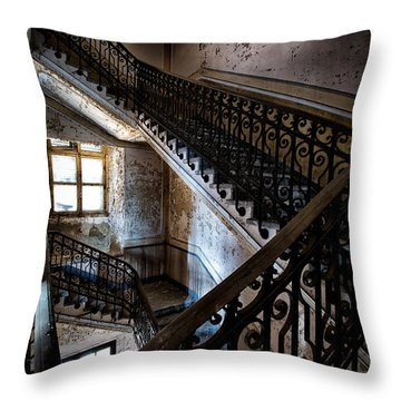 Light On The Stairs - Urban Exploration Throw Pillow