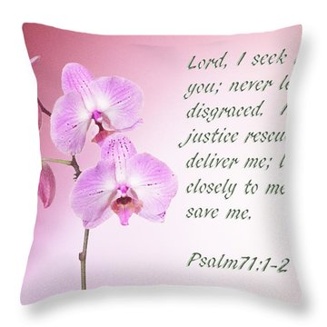 Throw Pillow featuring the photograph Light Pink Orchid Psalms 71 by Linda Phelps