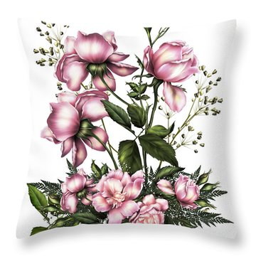 Light Pink Roses On White Throw Pillow