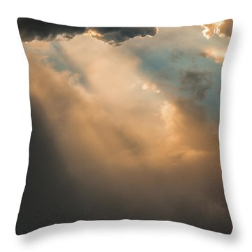 Light Punches Through Darkness Throw Pillow