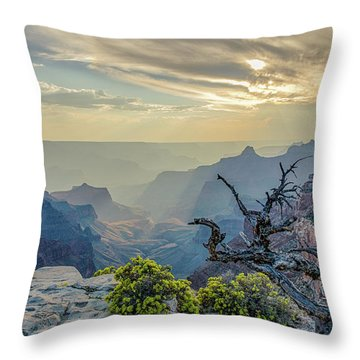 Light Seeks The Depths Of Grand Canyon Throw Pillow