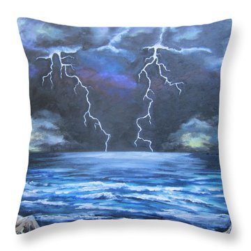 Throw Pillow featuring the painting Light Show by Cheryl Pettigrew