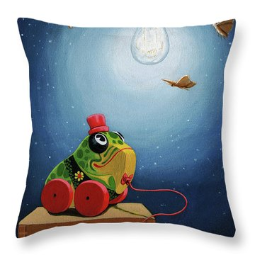 Throw Pillow featuring the painting Light Snacks Original Whimsical Still Life by Linda Apple