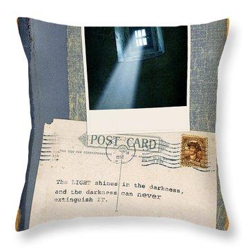 Light Through Window And Scripture Throw Pillow by Jill Battaglia