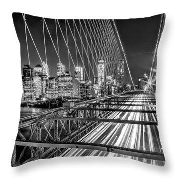 Light Trails Of Manhattan Throw Pillow