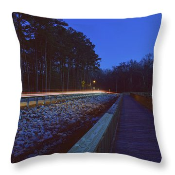 Light Trails On Elbow Road Throw Pillow