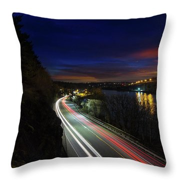 Light Trails On Highway 99 Throw Pillow by David Gn