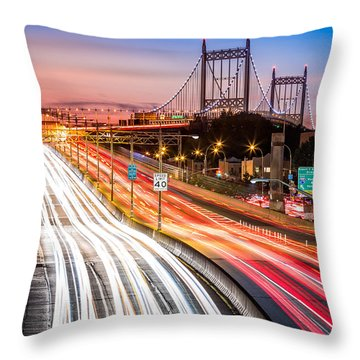 Light Trails On I-278 Near Triboro Bridge Throw Pillow