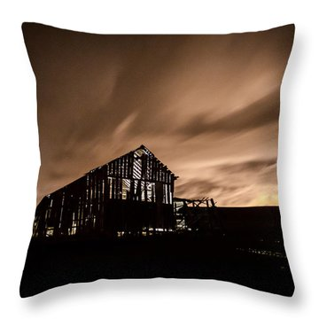 Lighted Barn Throw Pillow by Brad Stinson