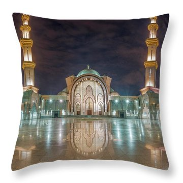 Throw Pillow featuring the photograph Lighted Federal Territory Mosque  by Pradeep Raja Prints