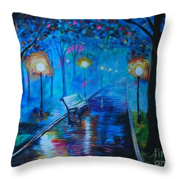 Throw Pillow featuring the painting Lighted Parkway by Leslie Allen